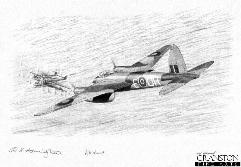 Banff Mosquito <i>H</i> of 404 Squadron flown on its first operational mission by Flying Officer A Catrano and Flight Lieutenant A E Foord spots a German Blohm and Voss Bv138 anchored off Kjevik.  They attacked the Bv138 which blew up before going on to attack a Heinkel He115 floatplane which was in the vicinity.  This drawing shows the Mosquito beginning its attack on the Bv138.