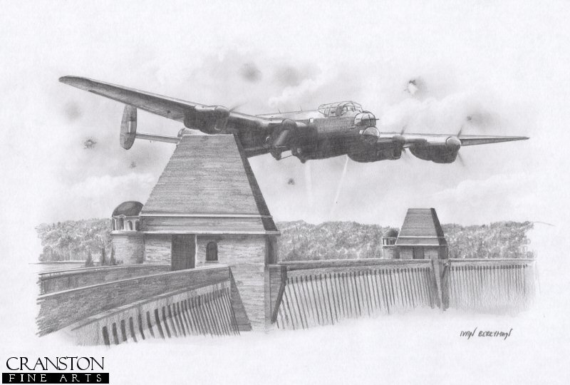 The 617 Sqn Lancaster of Guy Gibson (<i>G for George</i>) thunders over the Mohne Dam on the first attack run of the Dambusters raid, 16th - 17th May 1943.  After several attacks on the dam, it was finally breached by the innovative <i>bouncing bomb</i> designed by Barnes-Wallis.