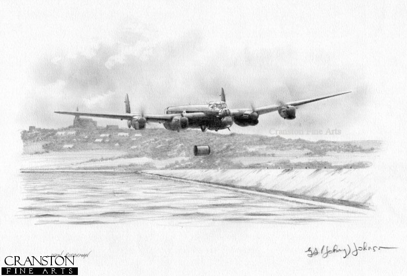 McCarthy's aircraft, ED825(G) AJ-T attacking the undefended Sorpe Dam with the village in the background and the church with the steeple that they had to avoid on the hilltop. Such was the difficulty of the approach to this dam - attacked along its length in contrast to the other dams which were attacked perpendicular to the dam - McCarthy needed to make a total of ten runs before the bomb was dropped accurately.  Despite such determination, the bomb failed to cause any significant damage to the massive earth dam.
