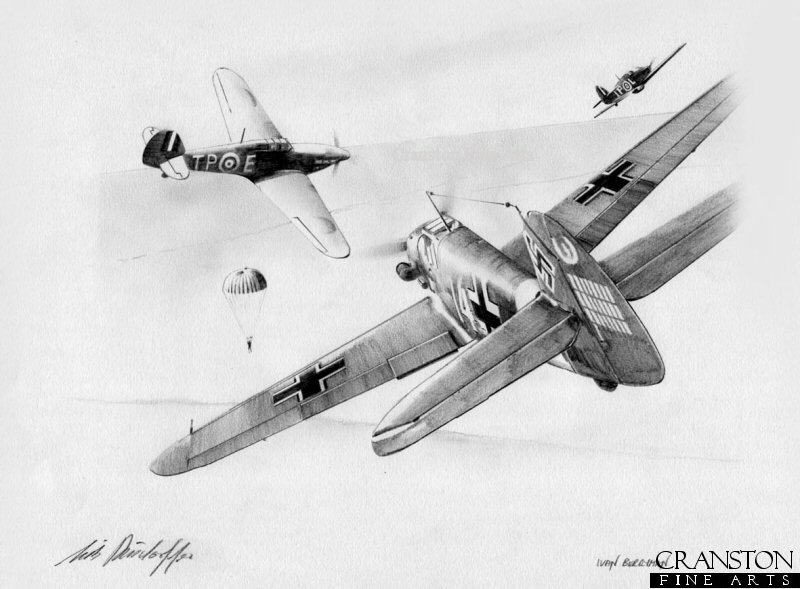Hans-Joachim Marseilles lines his Bf109 up on Hurricane of No.73 Sqn over North Africa on 17th June 1942.