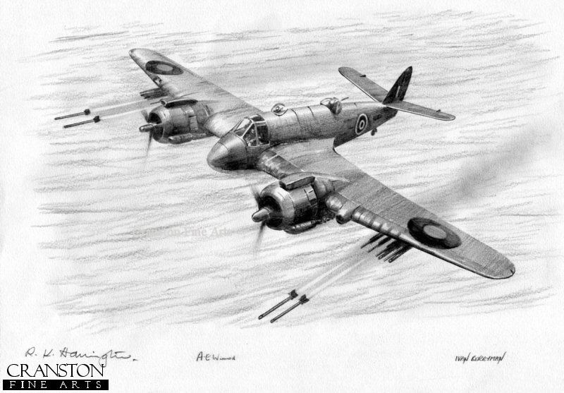 A Bristol Beaufighter of No.248 Sqn, Banff Strike Wing, fires off a half-salvo of four rockets.
