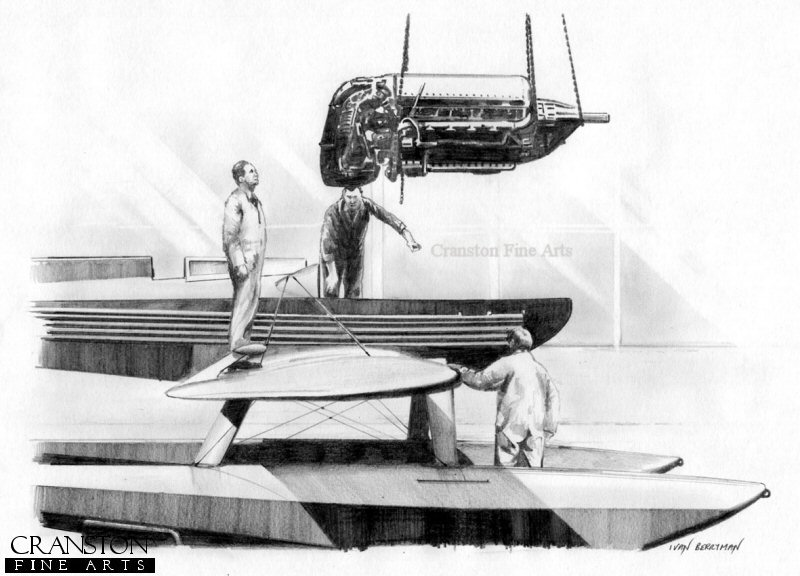 The Supermarine S6.B was the aircraft famed for winning the Schneider Trophy outright in 1931.  Here, the Rolls Royce R engine is being lowered into the body of the aircraft.  The engine cover on the aircraft was so large that when it was removed, there was very little left except a void where the engine would be.