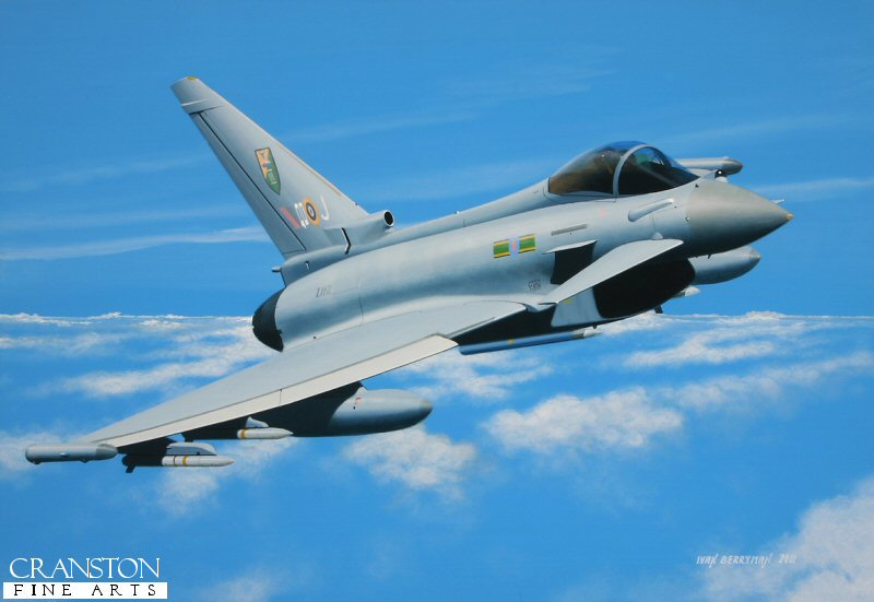 Typhoons of 3 Squadron were in action during Operation ELLAMY in Libya in the Spring of 2011, helping to suppress the attacks on rebel forces by soldiers loyal to Colonel Gadaffi, working alongside RAF Tornadoes and other aircraft of the UN coalition.  The Typhoons carry the codes QO as an homage to 3 Sqn's Hawker Typhoons of WW2.