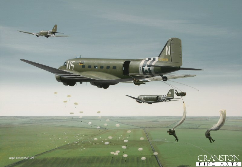 The Douglas C-47 Skytrain - or Dakota, as it was known in RAF service - saw extensive use both as a glider tug and troop transport throughout World War 2, most notably for delivering paratroops to their designated drop zones over Normandy in June 1944 and over Arnhem in September the same year, often in the face of extreme anti-aircraft fire and attacks from enemy fighters.  Here, C47s of the 81st Troop Carrier Squadron, 436th Troop Carrier Group drop paratroops above Holland as part of Operation Market Garden.