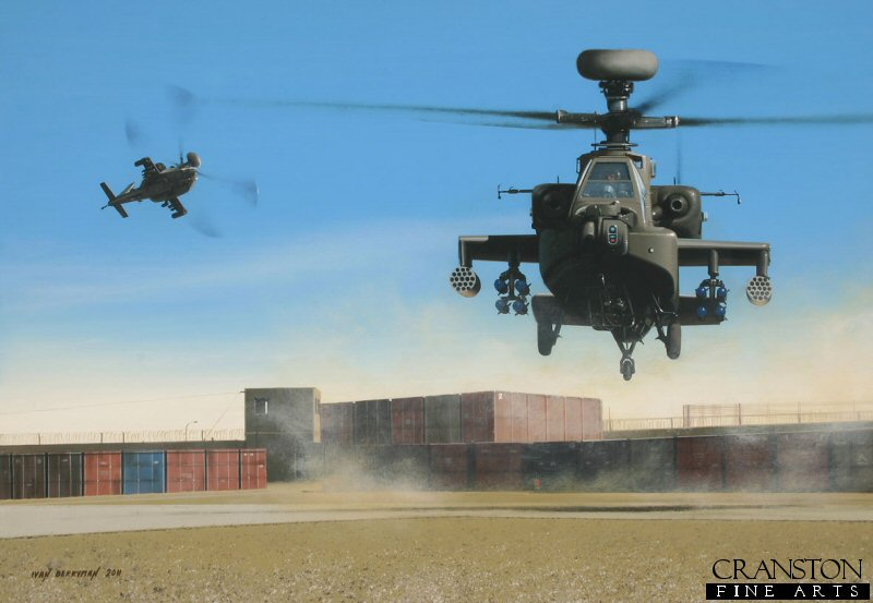 Known among the Taliban forces as the <i>Mosquito</i>, the Apache AH-1 has proved itself a formidable and essential part of the British presence in Afghanistan, operated by 656 and 664 Squadrons of 9 Regiment AAC.  Two AH-1s are depicted here landing after a close support mission in 2010.