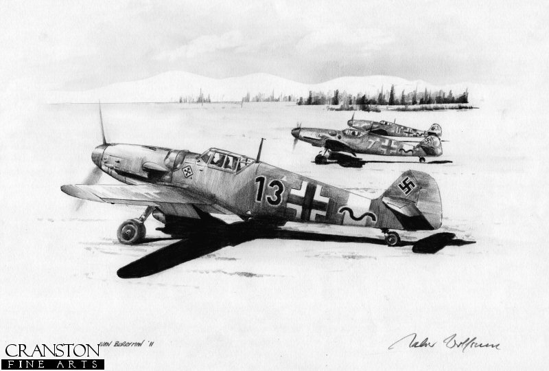 Gunther Rall in his Me109G <i>Black 13</i> about to set off with the rest of III./JG52 from a snow covered eastern front airstrip in 1943.