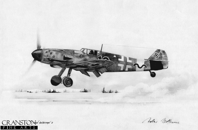 Gunther Rall scored almost all of his huge tally of 275 victories on the eastern front.  Here, his Me109 <i>Black 13</i> is shown over the snowy landscape that JG52 often operated in.