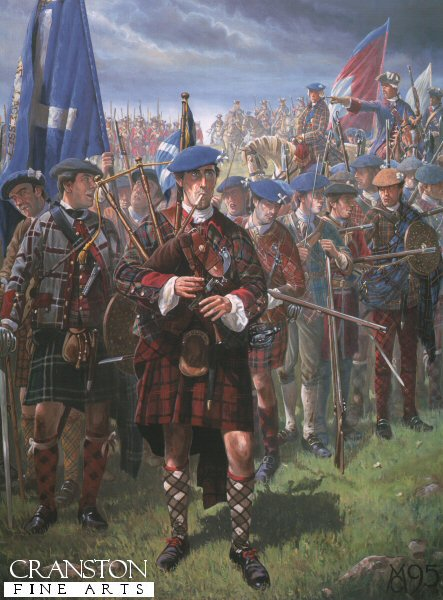 After the unsuccessful march on London, Prince Charlie retreats to the safety of Scotland. The army regroups and more men come to join the cause, including soldiers from France. However King Georges men are never far away.  As dark, winter rain clouds draw in over the high ground above the town of Falkirk, the Jacobite army assembles to face Hang-man Hawleys dragoons and infantry. A piper plays on while the men of Ogilvys Regiment, in the second line, load and make ready their weapons for the coming assault. Bonnie Prince Charlie (so called for his nature, not his looks) rides down the ranks followed by Lord Elcho and his Life Guards. Red coated Irish Pickets, regulars from France, are also in reserve.