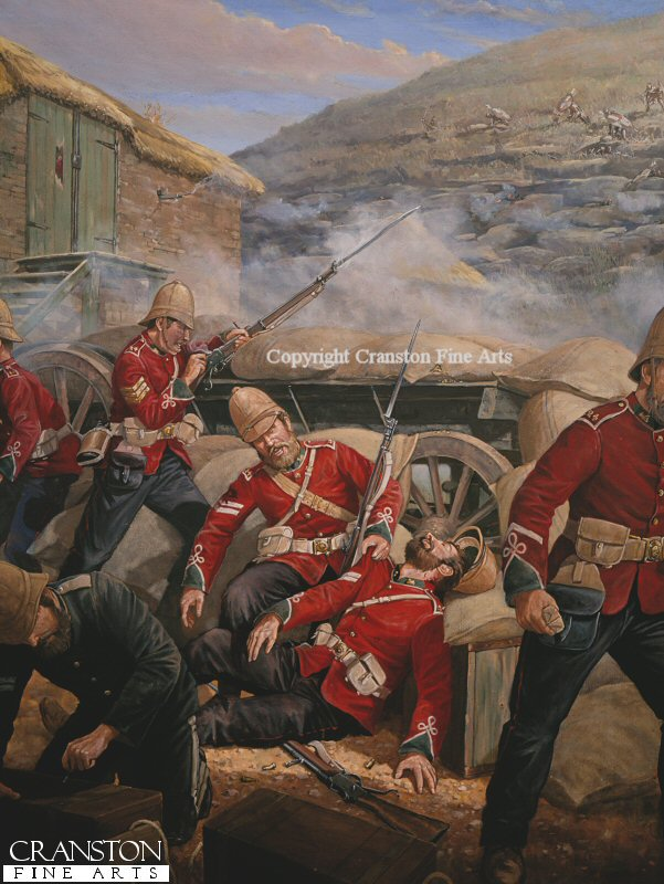 Corporal Allen and Corporal Lyons, B. Company 2nd Battalion 24th Foot Rorkes Drift Back Wall, 6pm January 22nd 1879.  After the initial Zulu assault on the back wall of the post failed at about 4.30pm, a fire-fight broke out between Zulu snipers posted on the terraces of the Shiyane (Oskarsberg) Hill and the defenders posted behind the barricade of wagons and mealie-bags. This section of the wall as commanded by Sergeant Henry Gallagher, of B Company. At about 6 pm, Corporal Lyons was leaning over the barricade to aim when he was hit in the neck by a bullet which paralysed him, as his friend, Corporal Allen, bent to help him, Allen too was shot through the arm. In the foreground Corporal Attwood of the Army Service Corps distributes ammunition. The wall was abandoned shortly after and the British retired to the small are in front of the storehouse. Allen was later awarded the VC, and Attwood the DCM.  He was born at Churcham, Gloucestershire, and served for five years in the Monmouthshire Militia before joining the 24th Regiment. He served through the Kaffir War 1877-8 before his bravery at Rorkes Drift for which he was presented with the Victoria Cross by Lord Wolseley on August 3rd 1879. He later served in the 1st Volunteers Battalion Royal Fusiliers.