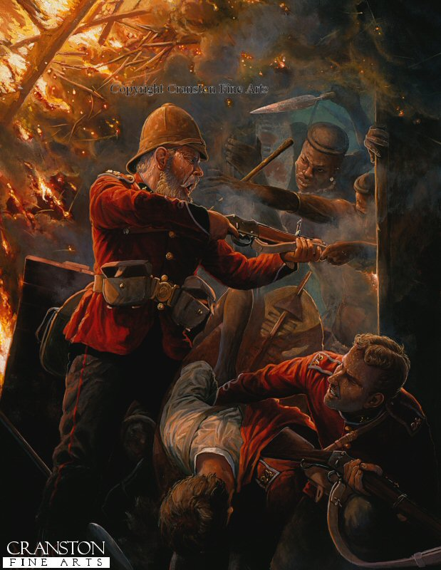 Depicting Private Hook and Private Williams, B Company, 2nd Battalion, 24th Foot inside the burning hospital at Rorkes Drift, 7pm January 1879. At about 6 pm the Zulus first forced their way into the hospital building where some thirty patients were defended by a handful of able-bodied men. A running fight ensued as the patients were evacuated from room to room, a desperate struggle made all the more terrible when the Zulus set fire to the thatched roof. Here Private Alfred Henry Hook holds Zulus of the uThulwana regiment at bay whilst Private John Williams helps a patient escape, Hook received a head wound when a spear struck off his helmet.