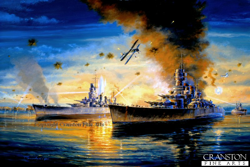 The balance of maritime power in the Mediterranean was transformed at a stroke by the British air attack which disabled three Italian battleships in a few minutes. The target was the core of Mussolinis fleet, tucked away in Taranto Harbour, in southern Italy. The attack, codenamed Operation Judgement, took place in bright moonlight by twenty-one Swordfish from the British carrier HMS Illustrious. In the confined space of the harbour, their torpedoes had a devastating impact, at least nine torpedoes struck their targets. In all, seven ships were severely damaged, including the battleship Caio Duilio (left), Littorio (right) and Conte Di Cavour.
