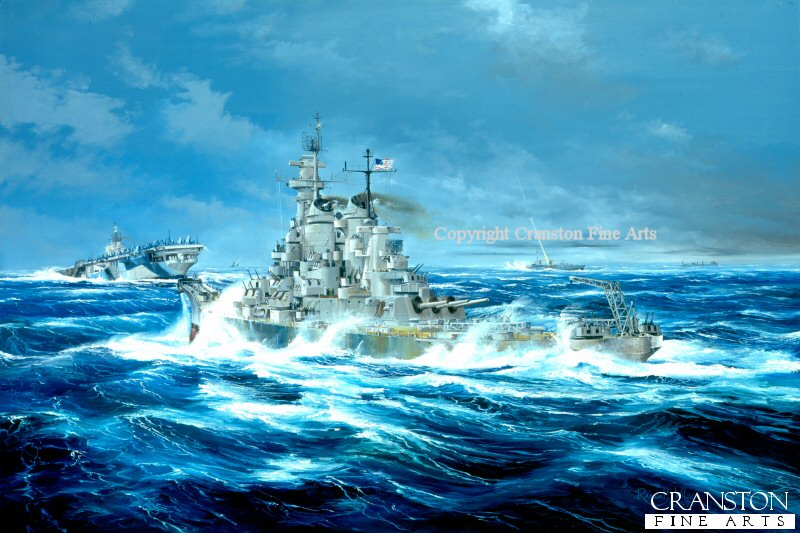 USS New Jersey seen battling her way through a Hurricane in 1944. <br><br>These canvases are from stock and have been in our various mobile displays for some time, and now have damage on the back of the canvas only.  These spotted areas appear either down one side or across the back, or on both side areas of the back. The damage does not affect the front image as the fronts have a protective coating. You can see the type of damage in the extra image shown below. They will frame up showing none of the damage and will look superb. Due to this damage, we are selling them below cost.
