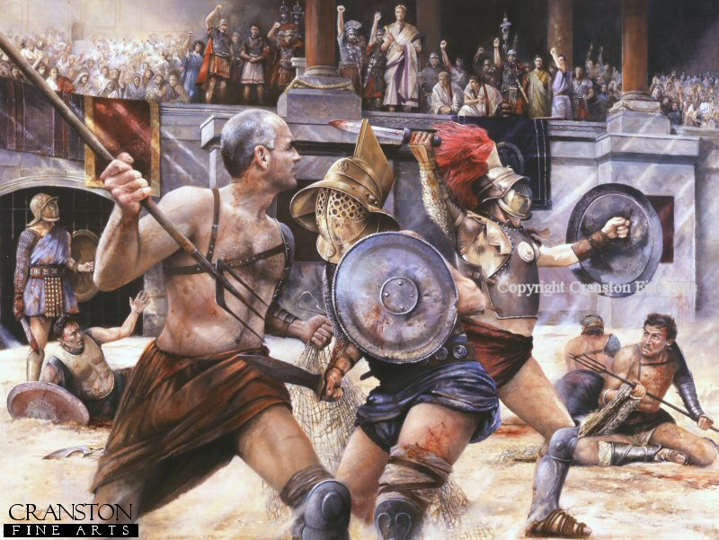 Rome AD52, Gladiatorial Combat under the eyes of the Emperor Claudius (actual name, Tiberius Claudius Drusus Nero) a great supporter of the games. Seen are the Net and Trident fighter Retiarius matched with a more heavily armed Mirmillone, whilst in the background a successful Secutor seeks permission for the killing stroke.