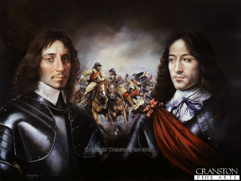 Portraits of Sir Thomas Fairfax and Prince Rupert of the Rhine.  Sir Thomas Fairfax (1612-71) Captain general of the Parliamentary New Model Army and his opponent Prince Rupert of the Rhine (1619-82) nephew of King Charles 1st and general of Royalist Horse. Centre section of the painting depicts cavalry engagement during the battle of Marston Moor.
