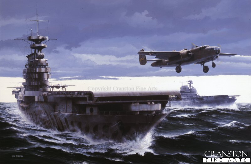 In a 40 knot gale, Lt Col. Doolittles B25 hauls itself into the air. The first of a 16 strong strike force en route to Tokyo.