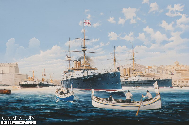With the British Mediterranean Fleet riding at anchor in Grand Harbour Malta, HMS Majestic is shown preparing to leave harbour as local fisherman look on.