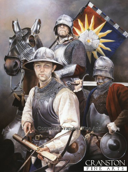 DHM1393P. Sun in Splendour by Chris Collingwood. Soldiers of the Yorkist cause c.1461.  Crossbowman, Man at arms and knight with the standard of the Sun in Splendour.