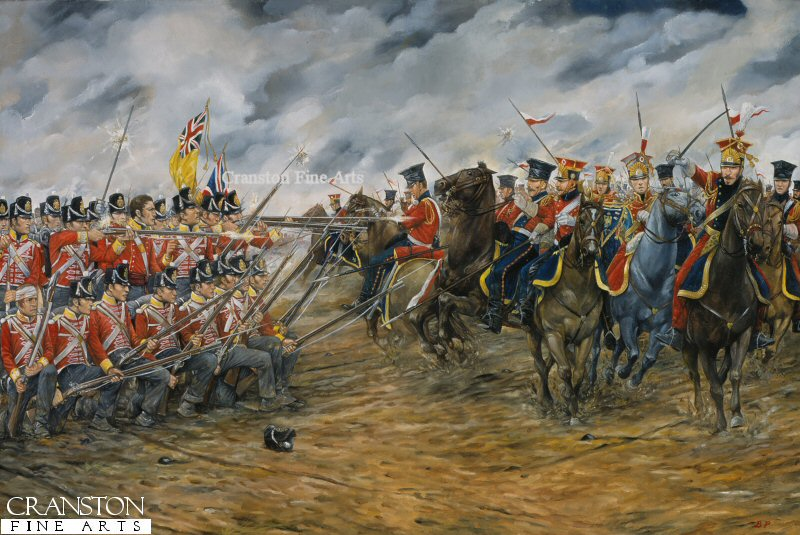 Charge of the dutch lancers against the british squares at waterloo by