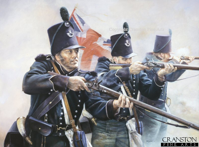 In August 1808 the 2nd battalion of the 95th Rifles were part of the expedition commanded by Sir Arthur Wellesley to Portugal and covered the landings at Mondego Bay.  On 15th August during a skirmish at Obidos, they had the distinction of firing the first shots of the Peninsular War against the French.  The Rifles were trained to think quickly and by themselves in dangerous situations, they were also taught to work and fight together in pairs while firing harassing and well aimed shots at the enemy.  The Baker rifle which the 95th used was an accurate weapon for its day, with reported kills being taken up to 270 metres away.  During the Peninsular War, Rifleman Thomas Plunkett of the 1st Battalion, 95th Rifles, shot the French General Auguste-Marie-Francois Colbert at a range that may have been even greater.  Rifleman Thomas Plunkett then shot a second French officer who rode to the general's aid.