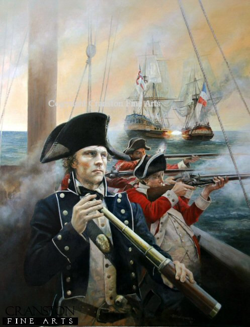 Lieutenant of the Royal Navy commands marines and crew during a sea battle with the French during the battle of Cape St Vincent.