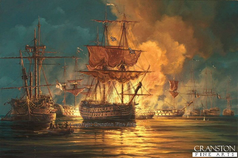 Lord Horatio Nelson and the British fleet found the French 13 ship of the line fleet anchored at Aboukir Bay.  Nelsons plan was to attack the French fleet on their unprotected port side.  By the end of the battle nearly all the French ships were sunk or captured.  The painting shows HMS Swiftsure in the centre with the burning 124 gun flagship LOrient behind.  To the left is the surrendered hulk of the French ship Franklin. <br><br><i>This print has some light handling damage to outer edge of border.  If we sold framed prints, we would frame these up and sell them as new, the damage is so light.  Instead we have reduced the price online to reflect the minor damage. <br><a href=https://www.military-art.com/mall/border-damage.php>Please click here for a list of all our stock in this category.</a></b><br><br>