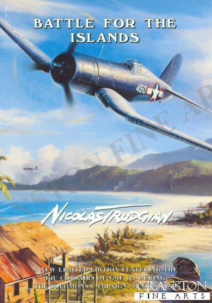 Corsairs of VMF 121 provide close air support to the US landings on Rendova, June 30, 1943. Fiercely contested, the invasion force was heavily attacked by Zero fighters and Mitsubishi G4M1 Betty bombers, flying from their base at Rabaul. Dog-fighting at tree-top height, VMF 121 Corsairs rip into a bunch of Betty bombers as they try to make their escape following their attack on shipping. On fire, the Betty in the foreground is doomed, and will shortly become one of 19 Japanese aircraft accounted for by VMF 121. Other Marine fighter units brought the total this day to a staggering 58 enemy aircraft destroyed.