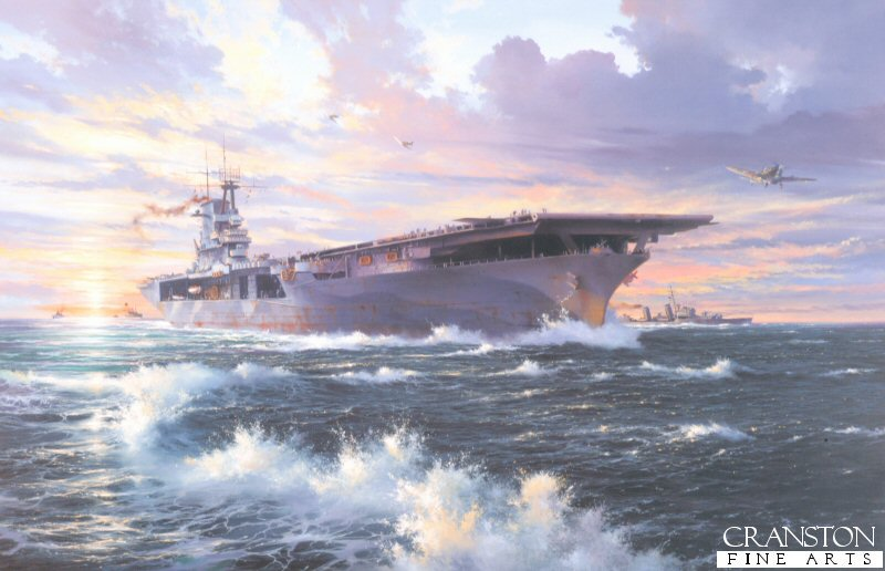 The USS Wasp launches Spitfires of 601 and 603 Squadrons towards Malta in a desperate, but successful, attempt to defend the beleagurered island, April 1942. <br><br><i>This print has some light handling damage to outer edge of border.  If we sold framed prints, we would frame these up and sell them as new, the damage is so light.  Instead we have reduced the price online to reflect the minor damage. <br><a href=https://www.military-art.com/mall/border-damage.php>Please click here for a list of all our stock in this category.</a></b><br><br>