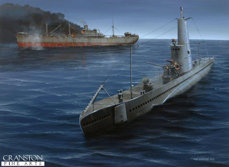 Wwii submarine art depicting this submarine