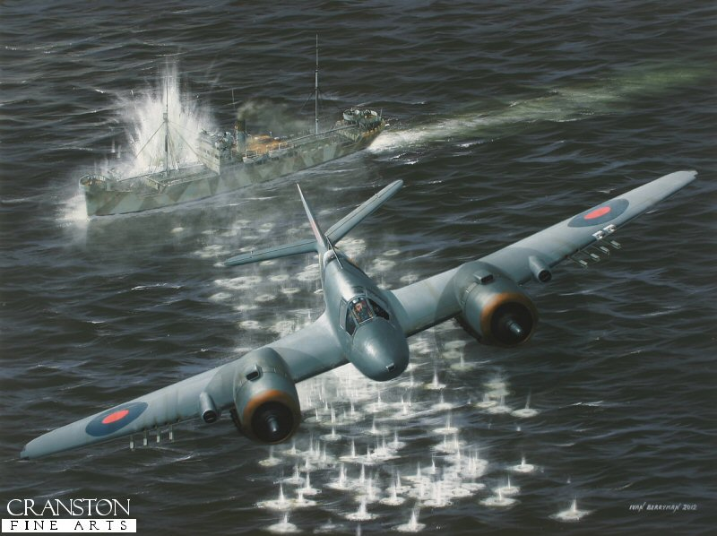 The Beaufighters of No.144 Sqn wrought havoc on Axis shipping in the North Sea from their base at Dallachy in Scotland during 1944-45.  Here, Mk X NT961 (PL-O) has singled out a lone vessel and dealt it the full salvo of rockets and machine gun fire.