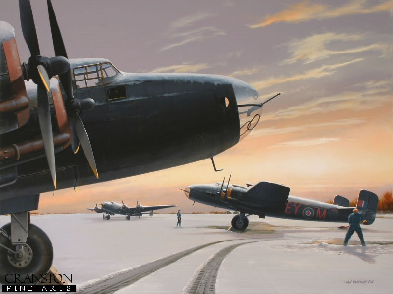 With the departure of No 1 Group in May 1943, No 4 Group&#39;s 78 Sqn Halifaxes arrived at Breighton in Yorkshire from where they would continue to operate until the end of the war.  Halifax III LW291 (EY-M) is depicted snowbound in the Winter of 1944, not long before it was lost over Grossmutz whilst taking part on a raid on Berlin on 20th January 1944. <br><br>Crew of EY-M : <br><br>Pilot : Flight Sergeant F Moffat RCAF (killed),<br>Navigator : Flying Officer W McGreggor RCAF (killed),<br>Bomb Aimer : Flying Officer R Selman RCAF (killed),<br>Wireless Operator : Flight Sergeant H H Bennett (taken prisoner),<br>Flight Engineer : Sergeant N Legg (killed),<br>Rear Gunner : Sergeant W Ruelhoff (killed,<br>Mid-Upper Gunner : Sergeant J Stewart (killed).