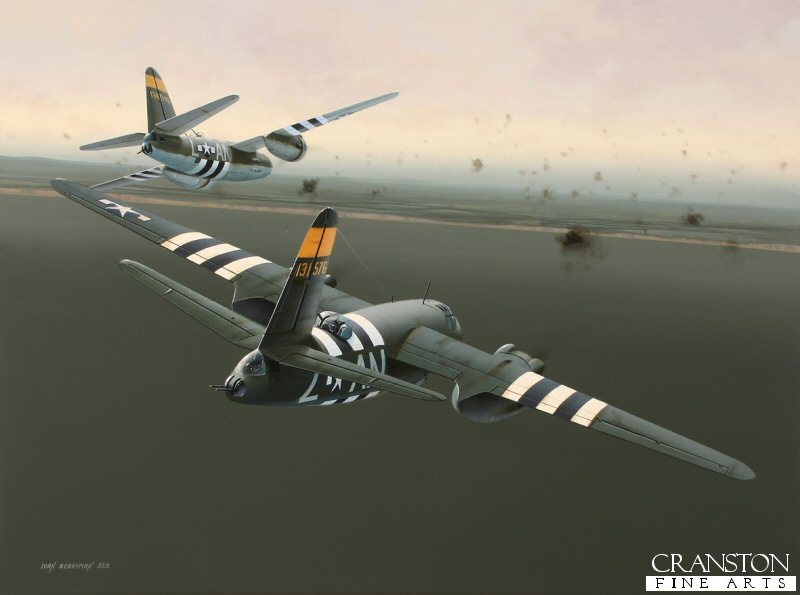 Martin B.26 Marauders of the 553rd Bomb Squadron, 386th Bomb Group are depicted approaching the Normandy coast early on 6th June 1944.  These aircraft were among the first to bomb the enemy gun emplacements and reinforcements situated along the beaches in order to help clear the way for the Allied landings that were just hours away at the start of Operation Overlord.  These B.26s carried out low level bombing sorties over Utah Beach, their low altitude being the key to their high level of success and accuracy.  Nearest aircraft is 131576 AN-Z &#39;<i>Dinah Might</i>&#39; now on display at the Utah Beach Museum.