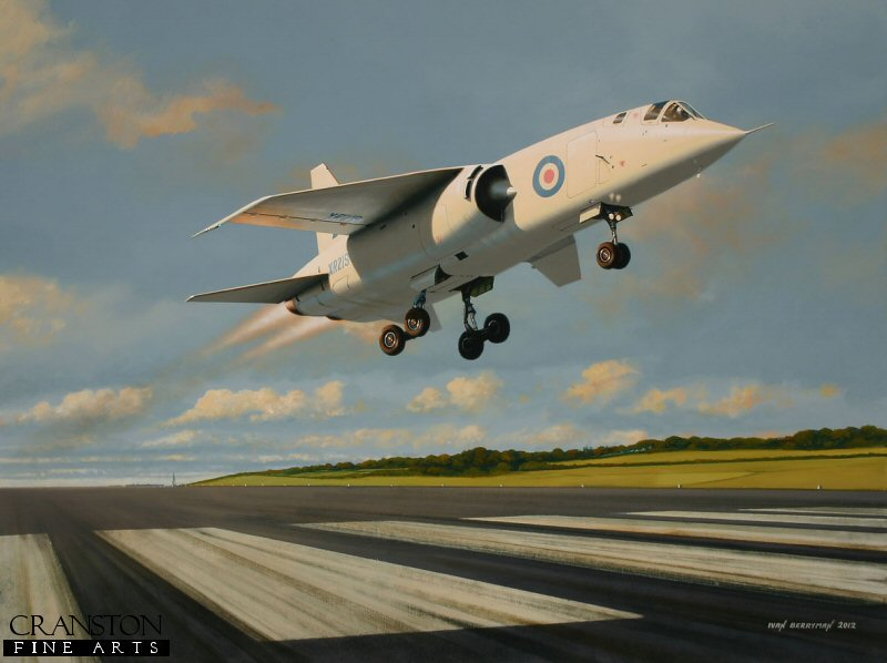 Without doubt the most advanced and forward-thinking design for an attack and reconnaissance aircraft in its day, the BAC TSR.2 was to fall victim to the shortsightedness of a misguided Labour government whose entrenched position in the mid 1960s dealt a terrible blow to the British aircraft industry - a blow from which it never fully recovered.  Whilst the few TSR.2 airframes that had been constructed languished in outside storage or on gunnery ranges, its intended American replacement, the General Dynamics F.111, was ready for RAF service fully ten years late and at a cost of nearly three times that of a production TSR.2, with the order being cancelled at the last minute.  Here, XR219 streaks into the air having ridden the 'hump' in the Boscombe Down runway.
