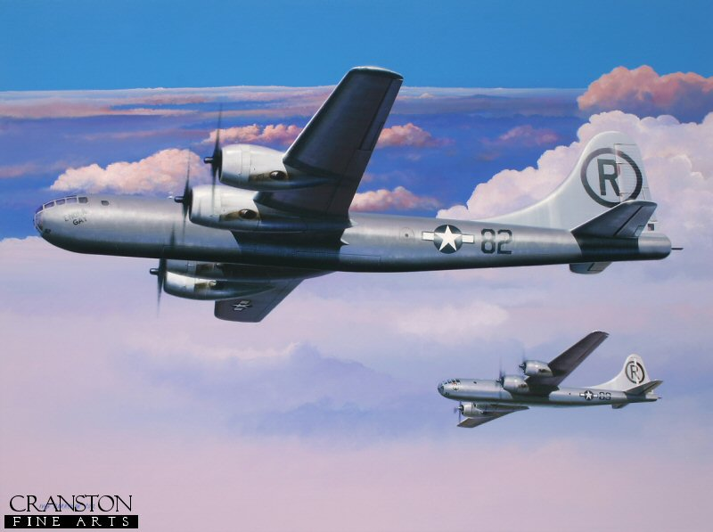Assigned to the 393rd Bombardment Squadron, USAAF, <i>Enola Gay</i> was one of 15 Boeing B-29s with the &#39;Silverplate&#39; modifications necessary to deliver the new atomic weapons.  She is depicted here in company with <i>The Great Artiste</i>, one of the other two B-29s that took part in the first nuclear bombing mission against the Japanese city of Hiroshima on 6th August 1945.  The three ship mission consisted of <i>Enola Gay</i> (victor number 82), piloted by Colonel Paul W Tibbets, <i>The Great Artiste</i> (89), piloted by Major Charles W Sweeney and number 91, later named <i>Necessary Evil</i>, piloted by Captain George W Marquardt. Tibbets&#39; aircraft was assigned for weapons delivery, whilst Sweeney&#39;s carried blast measurement instrumentation and Marquardt&#39;s was the camera ship.  This mission and that against the city of Nagasaki a short time later changed the course of history forever and remain to this day the only time that nuclear bombs have been used in anger.