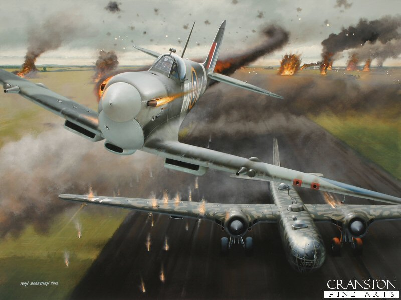 Whilst on a strafing sortie over German occupied St Trond airfield on 25th February 1944, Spitfires of 331 Sqn launched an attack on the Heinkel He.177 bombers that were stationed there.  Among those taking part was Norwegian ace Lieutenant Frederick Arild Sverdrup Fearnley, flying Spitfire Mk IX MJ354 (FN-W).  Fearnley shared in the destruction of a Heinkel He.177 as it tried to take off, but his Spitfire was immediately hit by ground fire, the young Norwegian losing his life in the ensuing crash.  Fearnley was credited with a possible 7 victories in his short career.