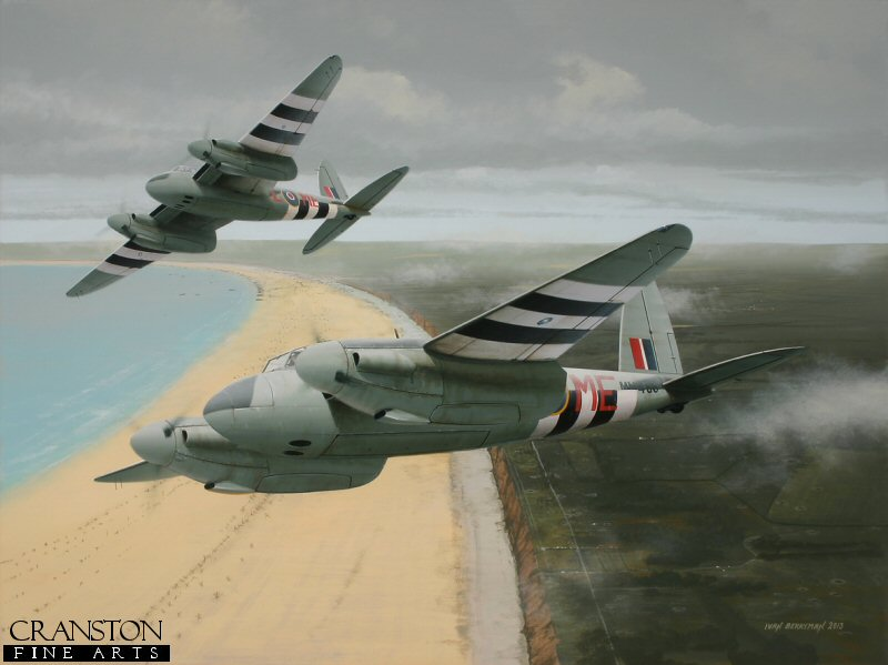 Immediately following the Allied invasion of northern France in June 1944, 488 Sqn RNZAF found themselves in the thick of the fighting, keeping enemy intruders at bay, flying mainly at night, a role to which their young pilots aspired and excelled. Among those was Flt Lt G E 'Jamie' Jameson who, together with his navigator Norman Crookes, shot down no fewer than eight enemy aircraft in Mosquito NF.XIII MM466, this particular machine becoming the most successful Mosquito of WWII in terms of aerial victories.  Jameson was to be credited with a final total of eleven victories before being repatriated home.