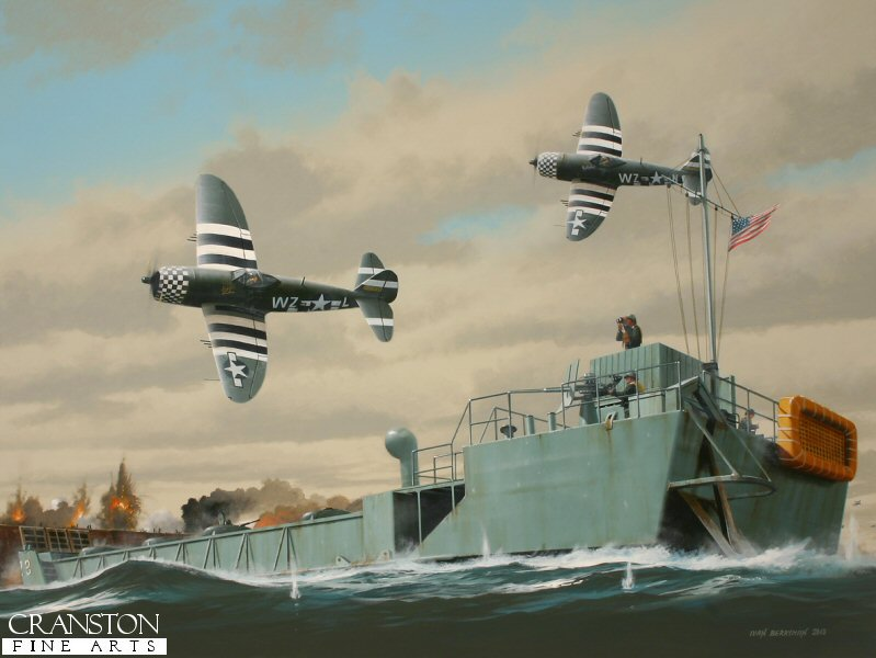 Two Republic P.47s of the 78th FG roar low over the Normandy beaches as the Allied invasion gets underway during Operation Overlord on 6th June 1944 as an LCT(5) Tank Landing Craft makes its break for the beach through a hail of enemy fire.  These craft were used at all the D-Day beaches, carrying mixed loads of vehicles and stores in almost impossible conditions.