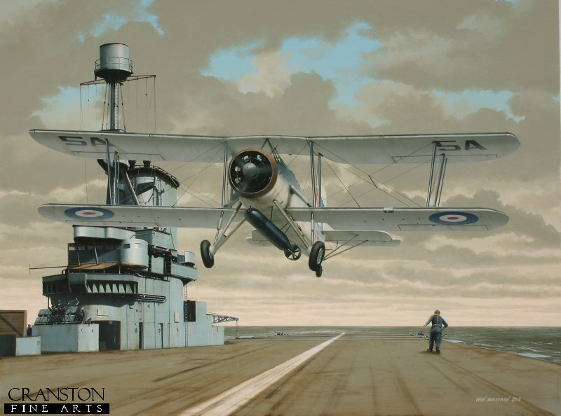 The remarkable Fairey Swordfish served with distinction throughout WWII, despite being nothing short of an anachronism.  Its dated appearance belied a solid, workmanlike airframe that provided a stable platform from which to launch torpedoes against enemy shipping, the venerable 'Stringbag' sending a greater tonnage of Axis shipping to the bottom than any other allied aircraft in the Second World War.  A Mk.II is shown taking off from HMS Ark Royal early in 1941.