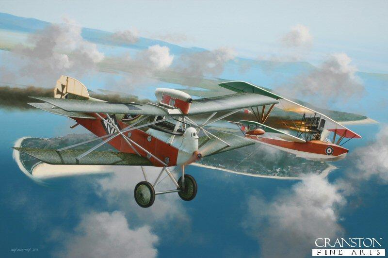 Godwin von Brumowski's 13th victory against an Italian Macchi seaplane over Grado, in northern Italy.