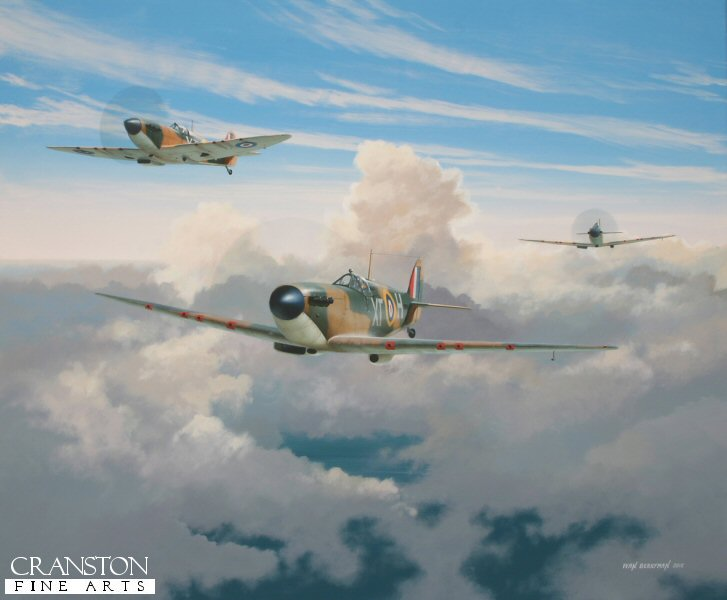 A trio of Spitfire Mk1s of 603 Sqn based at Biggin Hill are depicted on patrol in the Summer skies above Kent during the height of the Battle of Britain in August 1940. Lead aircraft is N3288 XT-H flown by Plt Off George Gilroy who finished the war with 14 confirmed victories, 10 shared and a further 14 aircraft destroyed in actions in which he was directly involved.