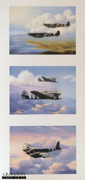 Spitfire, Typhoon and Mosquito aircraft in a triple print made up of the three individual prints <i>MkIX Spitfire, June 1944</i>, <i>Hawker Typhoons</i> and <i>De Havilland Mosquito</i>.
