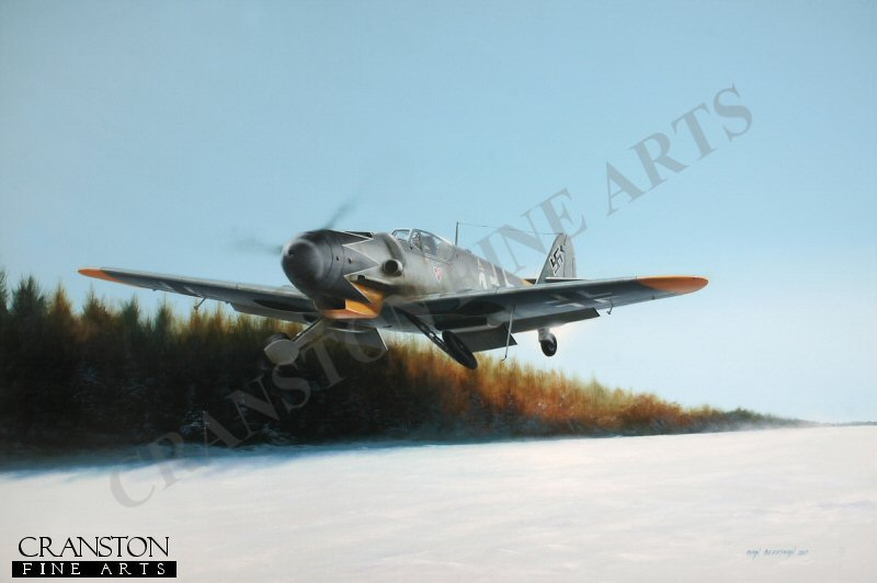 The highest scoring fighter pilot of all time with a confirmed tally of 352 victories, Erich Hartmann is depicted getting airborne from a snowy airstrip in Czechoslovakia, late in 1944 in a Bf109G-6 of 6./JG 52.