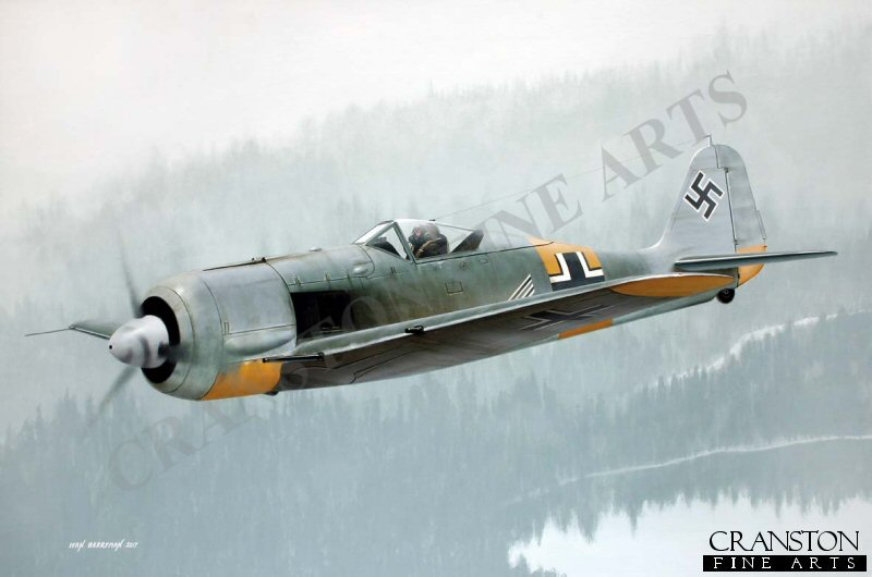 The Gruppenkommandeur of II./JG 54 Erich Rudorffer is depicted in Fw190A-6 'Black Double Chevron' over the misty forests of Finland in June 1944. Credited with 222 aerial victories, he survived being shot down no less than sixteen times and survived the war until eventually passing away in 2016 aged 98.