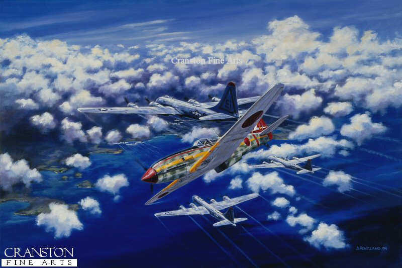 Boeing B29 Superfortresses of the USAAF 40th Bomb Group come under attack from a Kawasaki Ki64 Hein (Tony) of the Japanese Army Airforces 244th Sentai.
