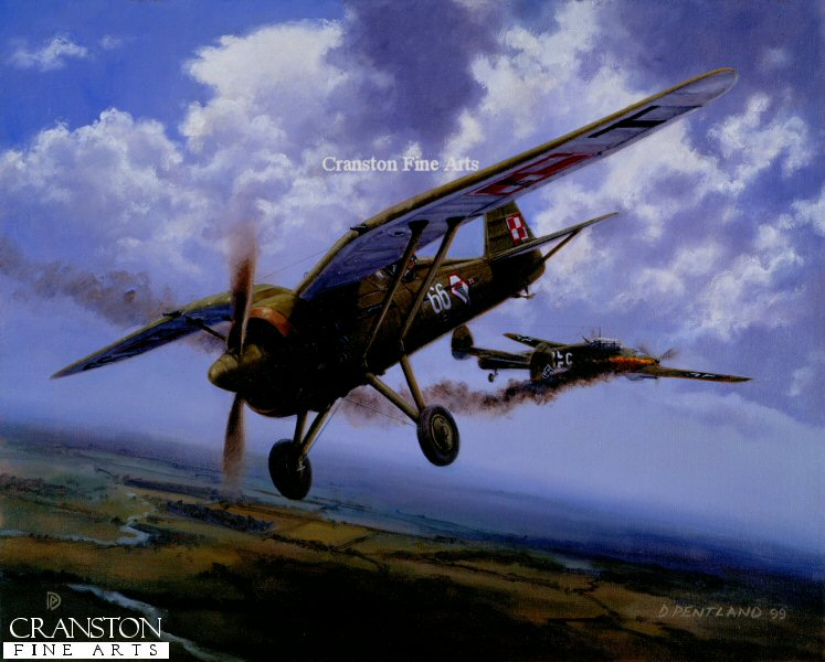 Porucznik Stanislaw Skalski of 142nd Eskrada, flying a Polish airforce PZL P-11c, downs a Messerschmitt 110 during the first days of WWII. Although officially credited as a Dornier bomber, it is now believed that the aircraft was an Me110 from 1/ZG1. The discrepancy is attributed to the fact that the reported aircraft used nose mounted cannons unlike the Dornier, and up until then the 110 was a well kept secret.