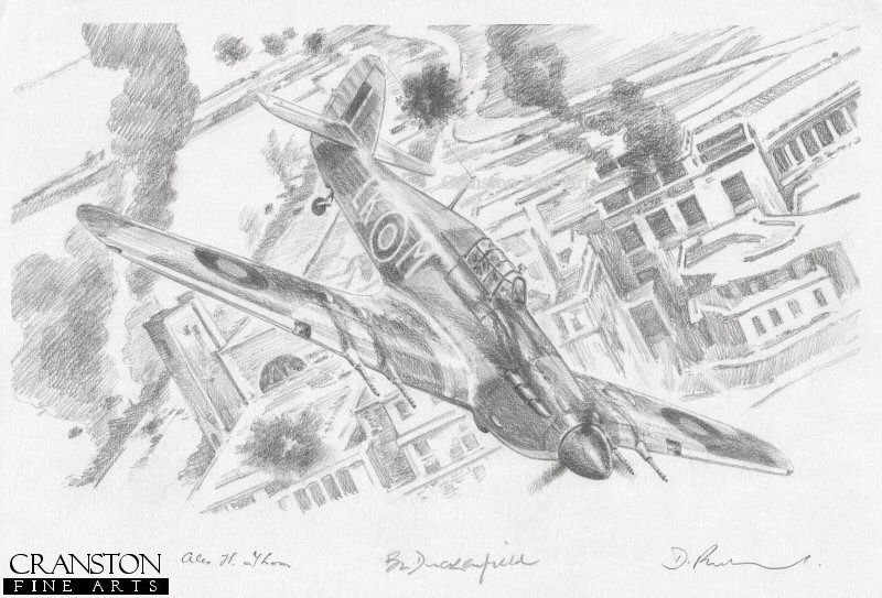 While on an early morning sortie over Dieppe to support the allied landing Operation Jubilee, the Hawker Hurricane IIc of Alex Thom sustained flak damage to its engine.  Despite a severe oil leak he nursed his aircraft safely back to England where he made a successful forced landing.