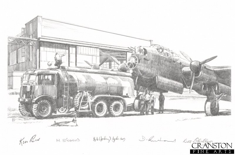 Lancaster of 617 Sqn refueling at Scampton, May 1943, in preparation for Operation Chastise.