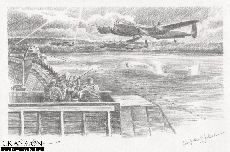 Mohne Dam, Ruhr Valley, 16th-17th May 1943.  On the fifth and final attempt to breach the Mohne dam, Flt. Lt Maltby was flanked by the aircraft of Gibson and Martin who attempted to suppress the German flak defences.