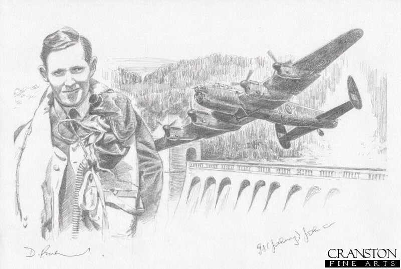 The image shows Lancaster AJ-N pulling away after its successful breach of the Eder dam.  Alongside is the portrait of AJ-N pilot Plt Off L J Knight.  This aircraft was the third aircraft to make the tricky attack on the Eder dam.  Despite the approach being made difficult by the terrain, AJ-N successfully breached the Eder dam with its bomb, and returned home safely.<br><br><b>Crew of <i>N for Nan</i> :</b><br><br>Pilot : Plt Off L J Knight<br>Flight Engineer : Sgt R E Grayston<br>Navigator : Flg Off H S Hobday<br>Wireless Operator : Flt Sgt R G T Kellow<br>Bomb Aimer : Flg Off E C Johnson<br>Front Gunner : Sgt F E Sutherland<br>Rear Gunner : Sgt H E O&#39;Brien.
