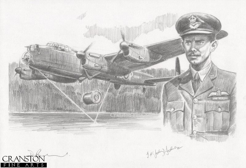 The image shows Lancaster AJ-P attacking the Mohne dam.  Alongside is the portrait of AJ-P pilot Flt Lt H B Martin.  This aircraft was the third to attack the Mohne dam, and although the bomb was dropped successfully, it veered to the side of the dam and exploded off target.  The aircraft returned safely.<br><br><b>Crew of <i>P for Popsie</i> :</b><br><br>Pilot : Flt Lt H B Martin<br>Flight Engineer : Plt Off I Whittaker<br>Navigator : Flt Lt J F Leggo<br>Wireless Operator : Flg Off L Chambers<br>Bomb Aimer : Flt Lt R C Hay<br>Front Gunner : Plt Off B T Foxlee<br>Rear Gunner : Flt Sgt T D Simpson.