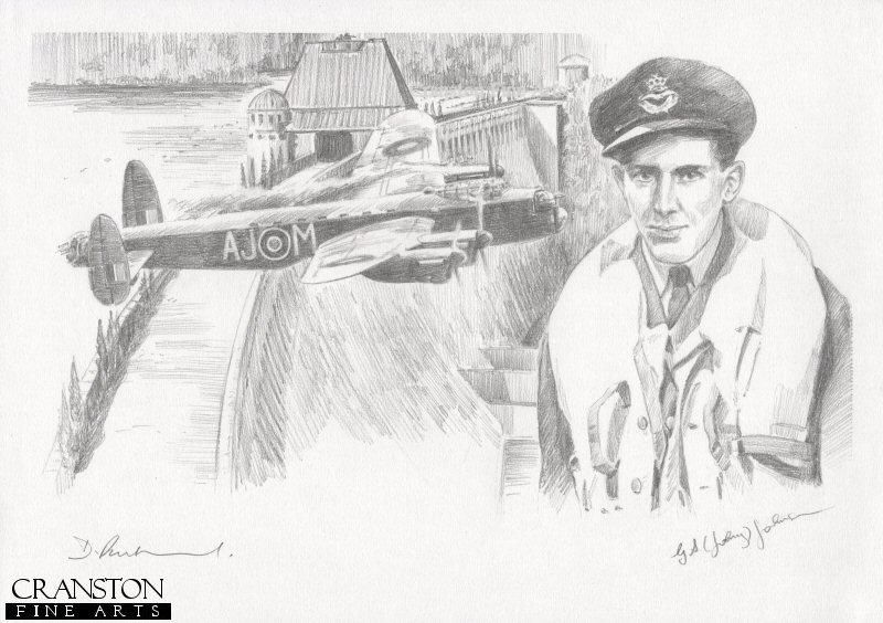 The image shows Lancaster AJ-M attacking the Mohne dam.  Alongside is the portrait of AJ-M pilot Flt Lt J V Hopgood.  The second aircraft to attack the target, the aircraft was hit by flak, and its bomb bounced over the dam.  Caught in the blast from its own bomb, the aircraft crashed soon after passing over the dam, with just two of the crew surviving.<br><br><b>Crew of <i>M for Mother</i> :</b><br><br>Pilot : Flt Lt J V Hopgood<br>Flight Engineer : Sgt C Brennan<br>Navigator : Flg Off K Earnshaw<br>Wireless Operator : Sgt J W Minchin<br>Bomb Aimer : Sgt J W Fraser <i>(survived)</i><br>Front Gunner : Plt Off G H F G Gregory<br>Rear Gunner : Plt Off A F Burcher <i>(survived)</i>.